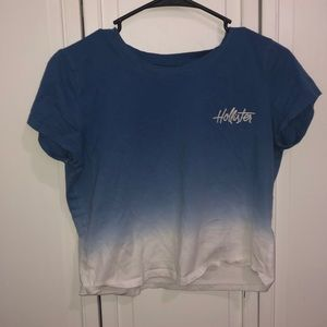blue to white ombré hollister cropped tee small